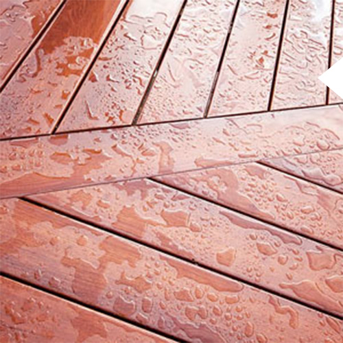 Light brown wood deck options on a Kroeger Marine deck with water on it