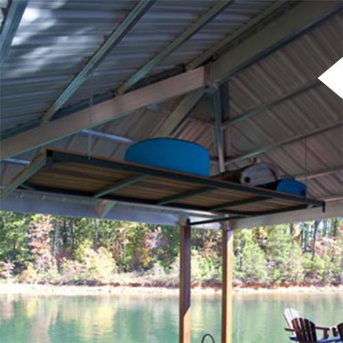 Dock loft installed on a Kroeger Marine boat dock. Loft has buckets on it