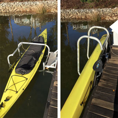 kayak lift attached to a dark boat dock in the water
