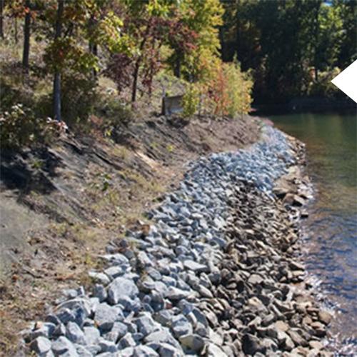 Rocks on a lake shoreline to prevent erosion