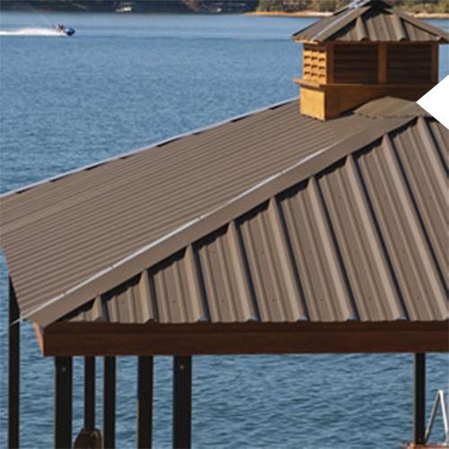 Brown metal roof on a Kroeger Marine boat dock on the lake