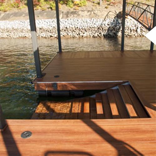 Swim Eze on a hardwood dock on Lake Jocassee in South carolina