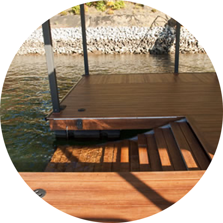 Stairs on a boat dock for easy access
