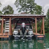 Pontoon boat in wooden dock