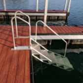 stairs on a dock leading into the water on lake hartwell