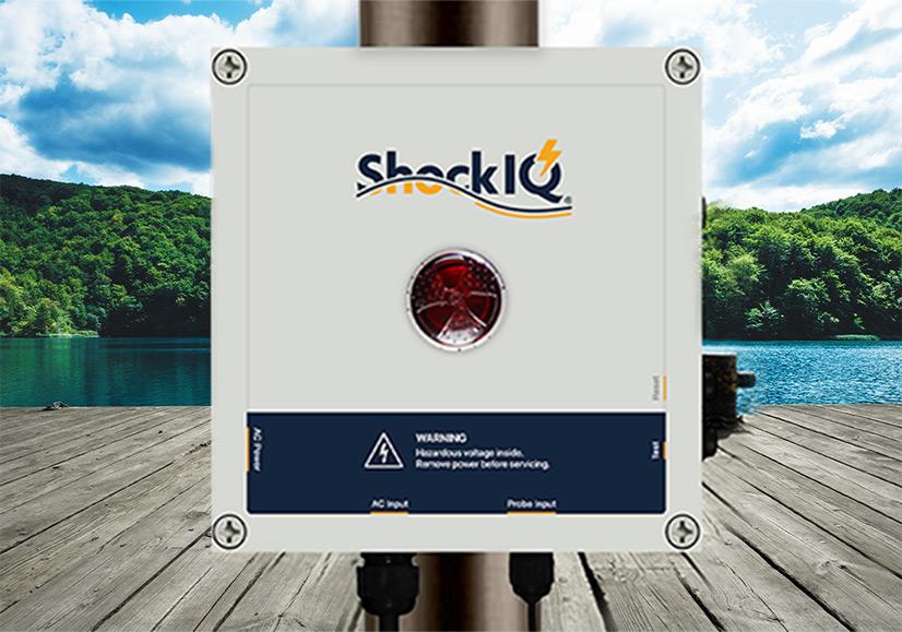 Shock IQ device on dock in lake hartwell