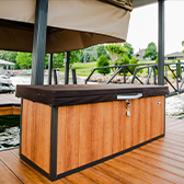 wooden storage chest on lake dock